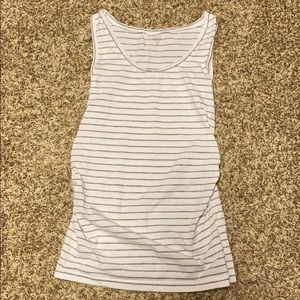 White and Gray Striped Maternity Tank